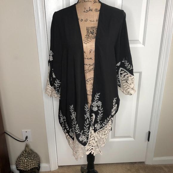Cejon Jackets & Blazers - Cejon Lace Trim Black Ivory Kimono NEW!